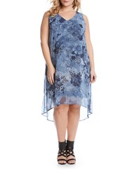 Karen Kane Plus Plus Floral V Neck High Low Hem Dress Blue