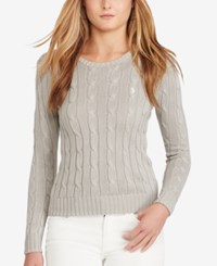 Polo Ralph Lauren Cable Knit Cotton Sweater Oxford Gray