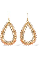 Kenneth Jay Lane Gold Tone Bead Earrings Metallic