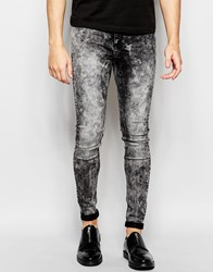 Cheap Monday Jeans Him Spray Stretch Super Skinny Fit Coarse Black Acid Wash Black