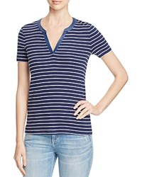 Three Dots Esther Striped Tee Navy White