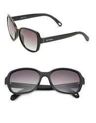 Fossil 55Mm Square Sunglasses Black