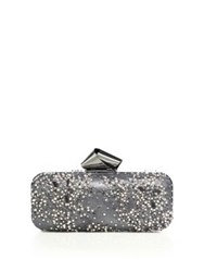 Jimmy Choo Faux Pearl And Crystal Embellished Lace Clutch Anthracite