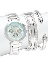 Adrienne Vittadini Vittad Silvertone Watch And Bracelet Set