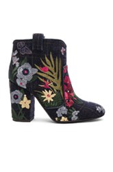 Laurence Dacade Embroidered Wool Pete Booties In Blue Checkered And Plaid Floral Blue Checkered And Plaid Floral