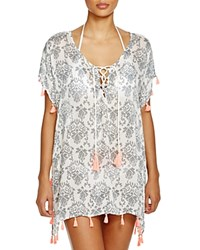 Surf Gypsy Neon Tassel Printed Tunic Cover Up Silver Swirl