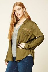 Forever 21 Plus Size Cargo Patch Shirt Olive