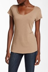 14Th And Union Raw Edge V Neck Tee Beige