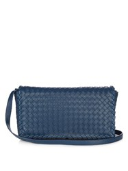 Bottega Veneta Intrecciato Leather Cross Body Bag Navy