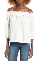 Roxy Women's Beach Fossil Off The Shoulder Eyelet Top