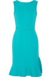 Oscar De La Renta Belted Wool Blend Dress Turquoise