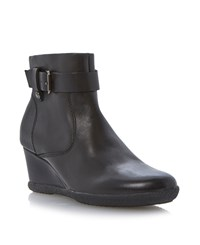 Geox Amelia Stivali Wedge Buckle Ankle Boots Black Leather