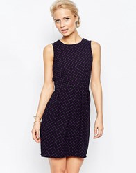 Closet London Tie Front Dress In Polka Dot Black Purple