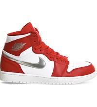 Nike Air Jordan 1 Retro Leather High Top Trainers Red Metallic Silver