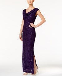 Connected Sequined Lace Cowl Neck Gown Eggplant