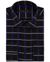 Sean John Men's Classic Fit Navy Check Dress Shirt Dark Blue