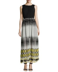 P. Luca Dot Print Sleeveless Maxi Dress Black Yellow
