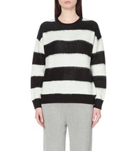 Izzue Monochrome Striped Knitted Jumper White Black