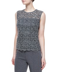 Escada Paneled Floral Lace Tank Top Anthracite