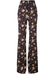 Rochas Floral Print Trousers Pink And Purple