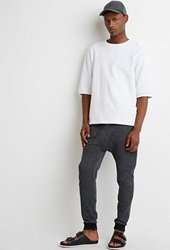 Forever 21 Speckled Drop Crotch Sweatpants Charcoal