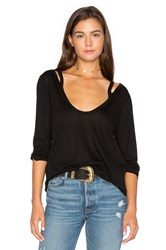 Project Social T Wild Night Flax Cold Shoulder Tee Black