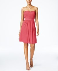 Adrianna Papell Strapless Lace Dress French Coral
