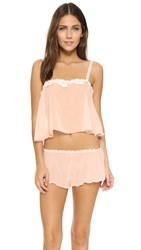 Hanky Panky Chiffon Crop Cami And Tap Pants Sleep Set Vanilla