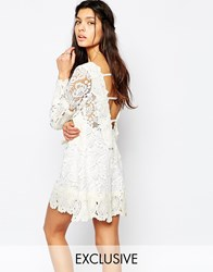 White Sand Crochet Lace Mini Swing Dress With Open Back Whitecream