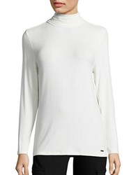 Imnyc Isaac Mizrahi Solid Long Sleeve Pullover Cream