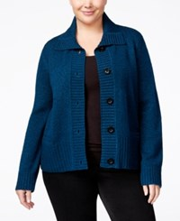 Karen Scott Plus Size Marled Cardigan Only At Macy's Teal Lake Marble