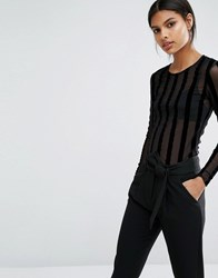 Y.A.S Stripe Long Sleeve Top Black