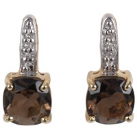 A B Davis 9Ct Yellow Gold Cushion Cut Stud Earrings Smoky Quartz