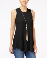 Amy Byer Bcx Juniors' Sleeveless Knit Necklace Top Black