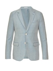 Alexander Mcqueen Notch Lapel Wool And Mohair Blend Blazer Light Blue