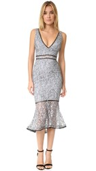 Nicholas French Lace Plunge Dress Steel