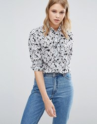 Warehouse Floral Printed Tie Neck Blouse Multi