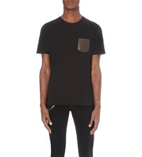 The Kooples Leather Pocket Jersey T Shirt Black
