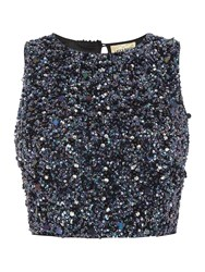 Lace And Beads Short Sleeve Sequin Crop Top Black