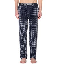 Emporio Armani Checked Cotton Jersey Pyjama Bottoms Marine White Check