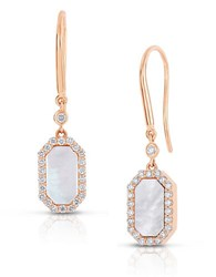 Roberto Coin Art Deco Diamond Mother Of Pearl And 14K Rose Gold Drop Earings