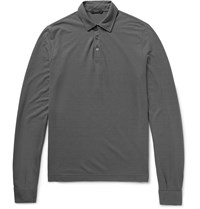 Incotex Slim Fit Cotton Jersey Polo Shirt Anthracite