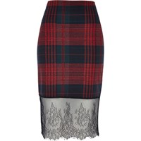 River Island Womens Red Check Lace Hem Pencil Skirt