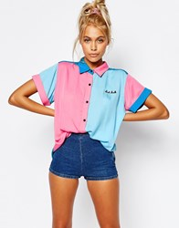 Lazy Oaf Short Sleeve Bowling Shirt With Bad Luck Slogan Pink