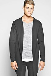 Boohoo Raw Edge Hooded Cardigan Black