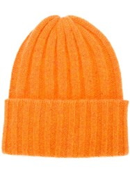 The Elder Statesman Short 'Bunny Echo' Hat Yellow And Orange