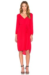 Velvet By Graham And Spencer Floressa Damask Rayon Long Sleeve Dress Coral