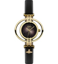 Vivienne Westwood Vv133bkbk Oval Leather And Gold Plated Watch Black