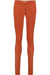 Stella Mccartney Stretch Cotton Crepe Skinny Pants Orange