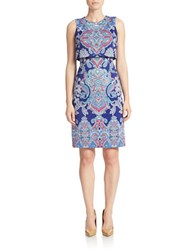 Maggy London Printed Popover Sheath Dress Jewel Blue
